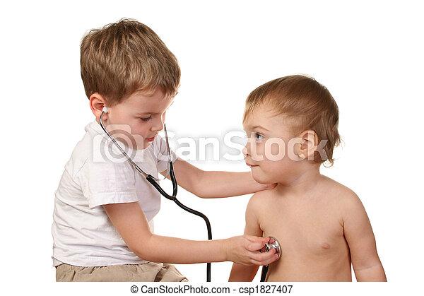 juego, niños, doctor - csp1827407