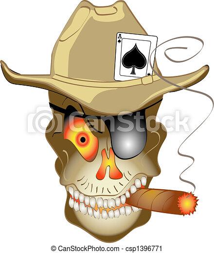 Poker jugando a las Vegas calavera - csp1396771