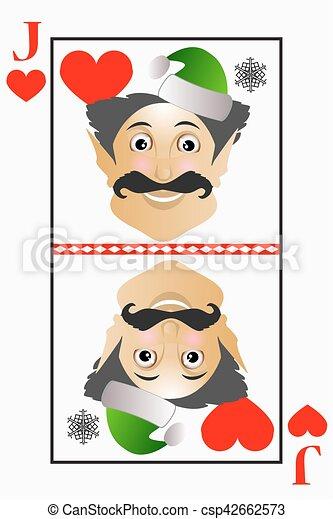 La Navidad de Vector elfo fácil juega Jack card trajes de corazones, rosas - csp42662573