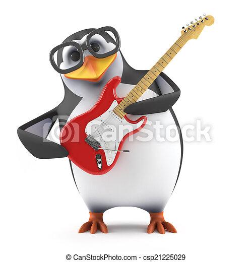 El pingüino académico 3D toca la guitarra eléctrica - csp21225029