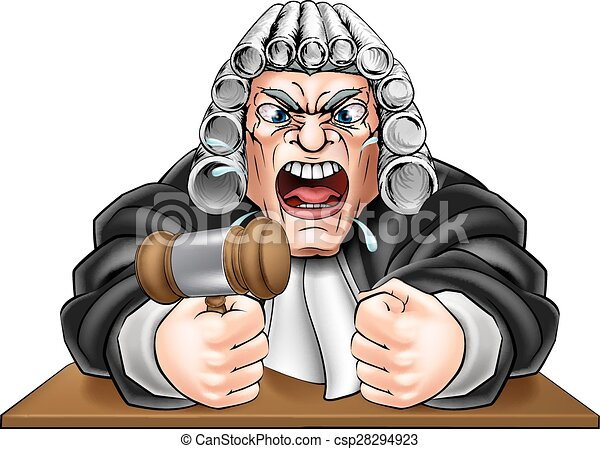Juzgado enojado con martillo - csp28294923