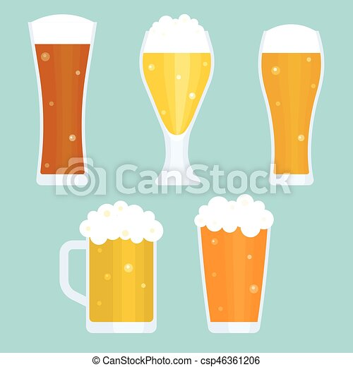 Jug and glass of beer collection, flat design vector - csp46361206