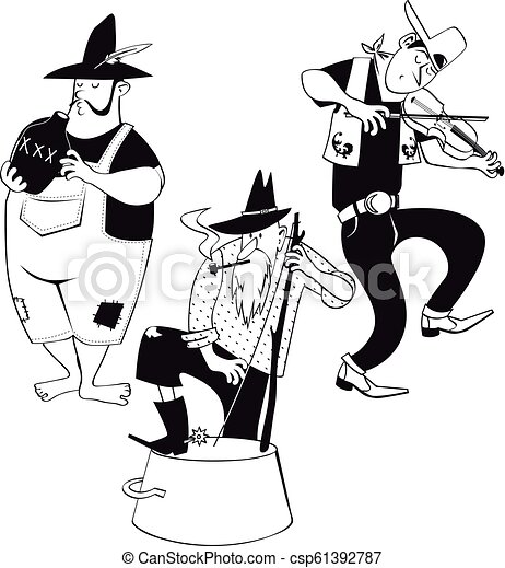 Jug Band Clip Art American Jug Band With A Fiddler And Jug And