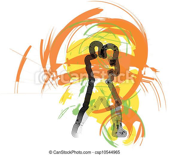 Jugador de baloncesto en acción. Vector - csp10544965