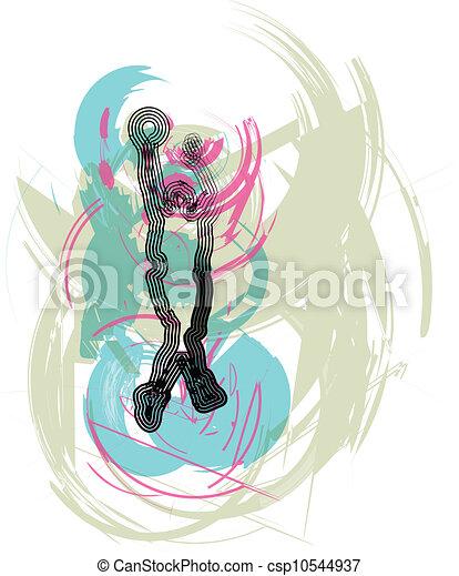 Jugador de baloncesto en acción. Vector - csp10544937