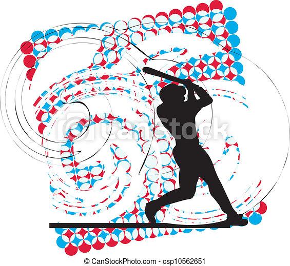 Jugador de béisbol en acción. Vector - csp10562651