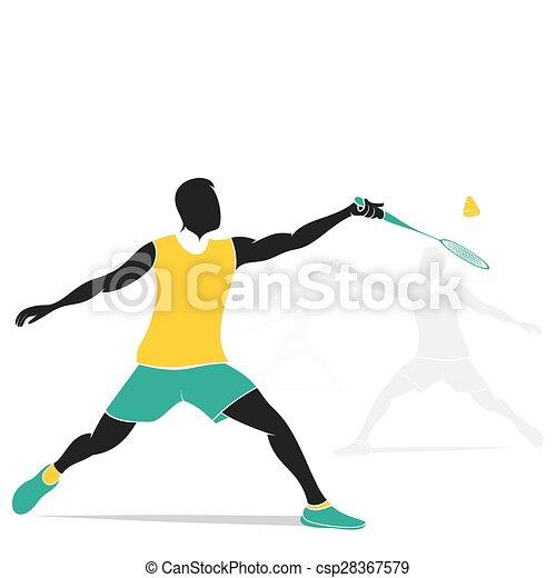 Diseño de jugadores de bádminton - csp28367579