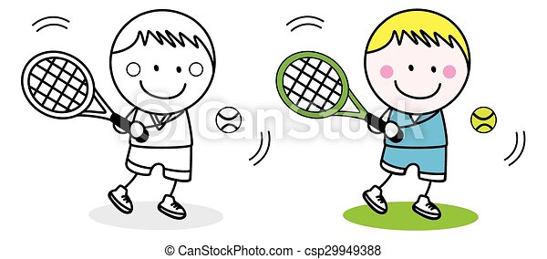 jugador, bádminton, niño - csp29949388