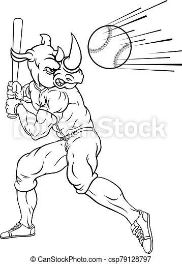 jugador béisbol, balanceo, murciélago, rinoceronte, pelota, mascota - csp79128797