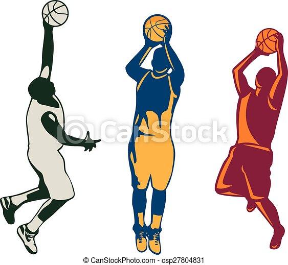 Un jugador de baloncesto disparando a una colección retro - csp27804831