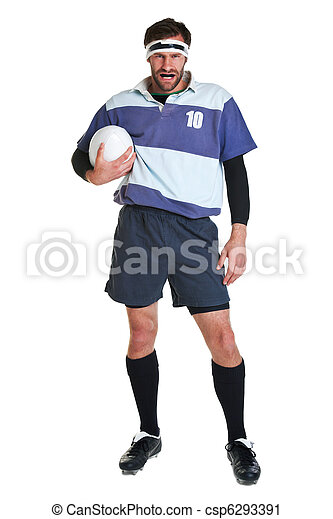 Jugador de rugby cortado en blanco - csp6293391