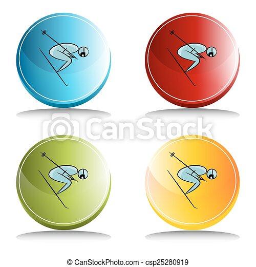 Botón de icono de jugador de tenis - csp25280919