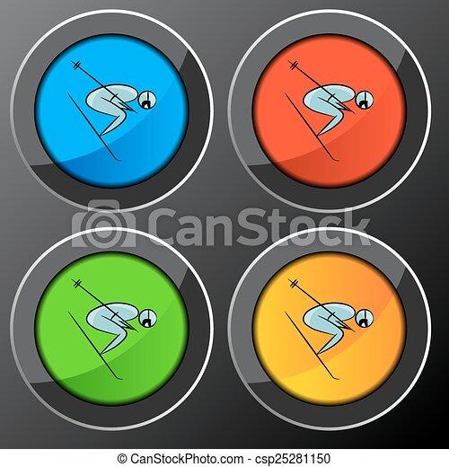Botón de icono de jugador de tenis - csp25281150