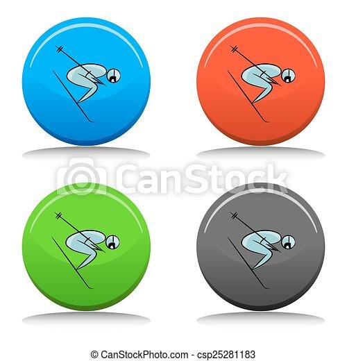 Botón de icono de jugador de tenis - csp25281183