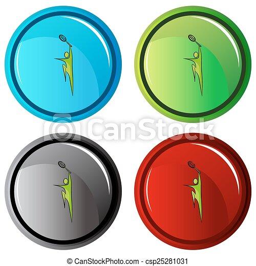 Botón de icono de jugador de tenis - csp25281031