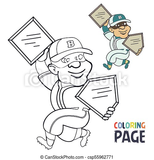 Página de color con dibujos animados de jugadores de béisbol - csp55962771