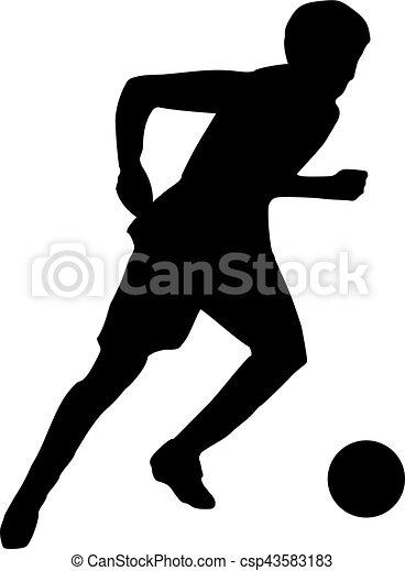 Silueta de jugador de fútbol corriendo - csp43583183