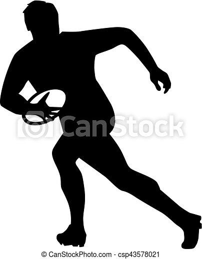 Jugador de rugby corriendo con pelota - csp43578021
