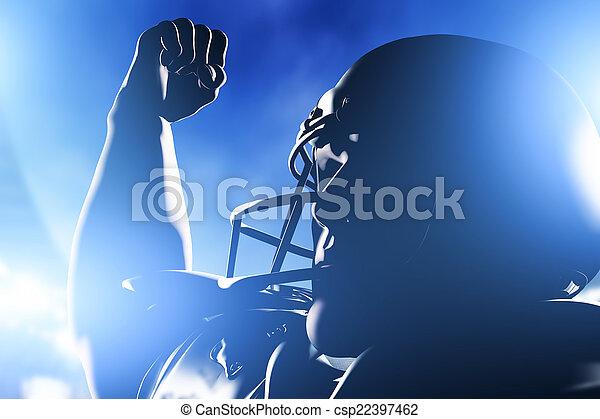 Jugador de fútbol americano celebrando la victoria. - csp22397462
