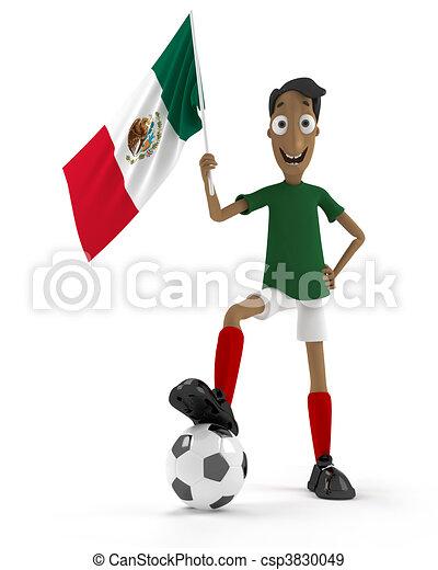 Jugador, futbol, mexicano. Estilo, pelota, méxico, jugador, bandera ...