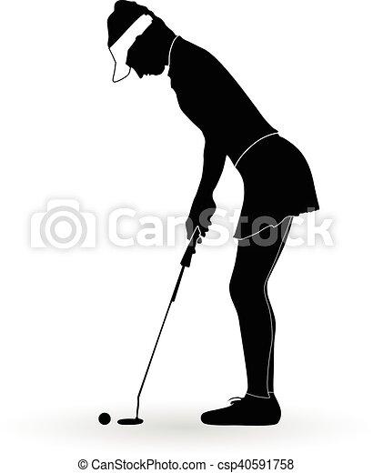 Mujer jugador de golf - csp40591758