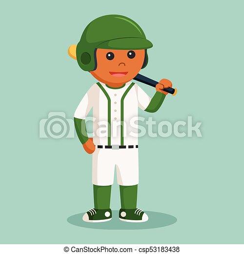 Jugador de béisbol africano con bate - csp53183438