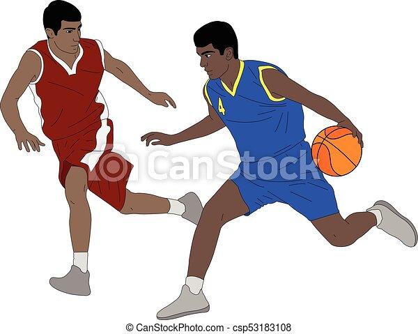 La ilustración de jugadores de baloncesto - csp53183108
