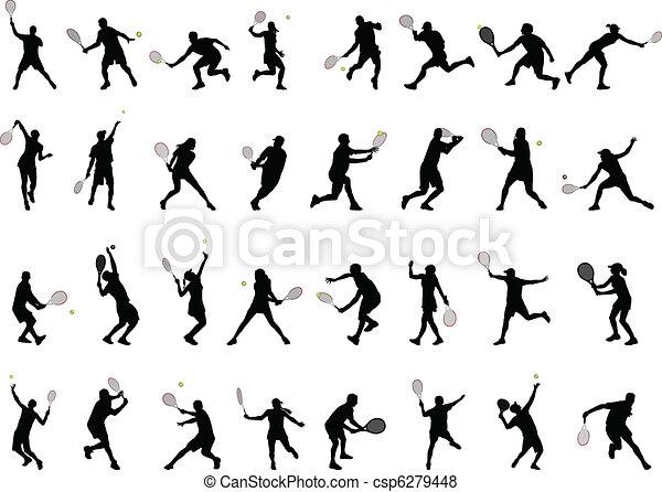 jugadores, siluetas, tenis - csp6279448