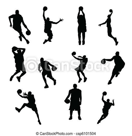 Jugadores, vector, baloncesto.