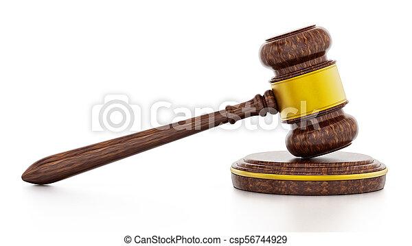 juge, isolé, illustration, arrière-plan., marteau, blanc, 3d - csp56744929