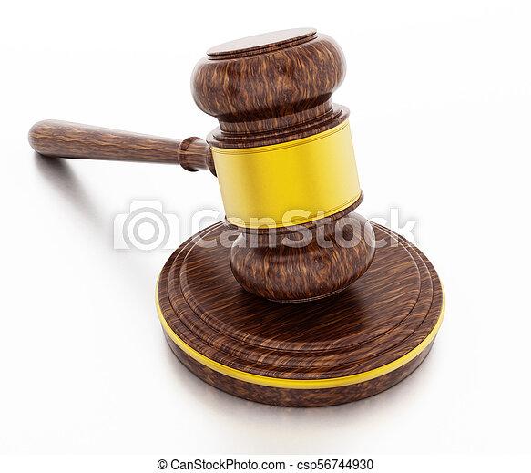 juge, isolé, illustration, arrière-plan., marteau, blanc, 3d - csp56744930