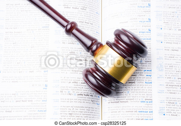 juge, livre, marteau, poser - csp28325125