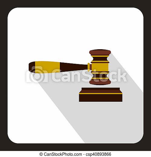juge, marteau, icône, style, plat - csp40893866