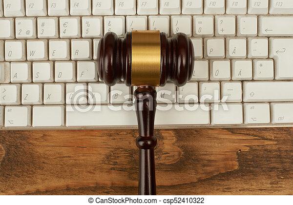 juge, marteau, keyboard., informatique - csp52410322