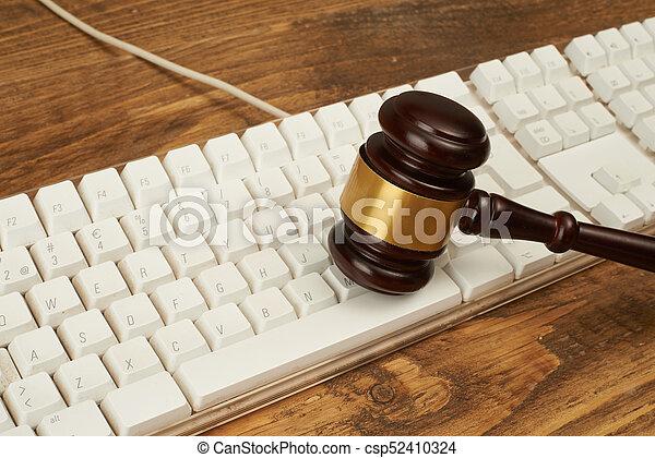 juge, marteau, keyboard., informatique - csp52410324