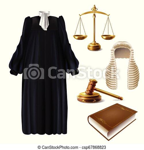 juge, réaliste, vecteur, marteau, robe, formel - csp67868823