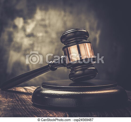 juge, table, marteau, bois - csp24569487
