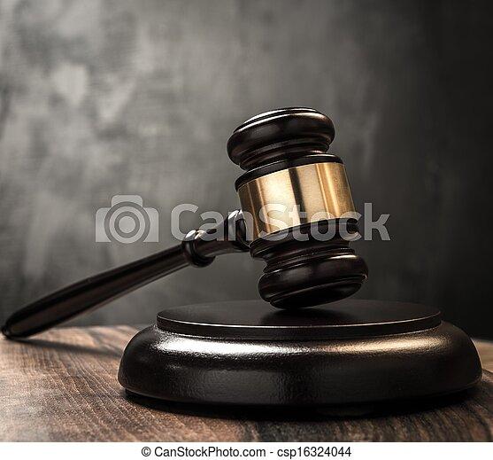 juge, table, marteau, bois - csp16324044