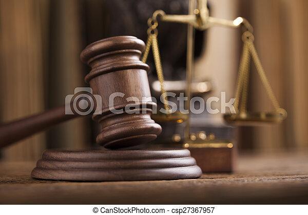 juge, thème, marteau, maillet - csp27367957