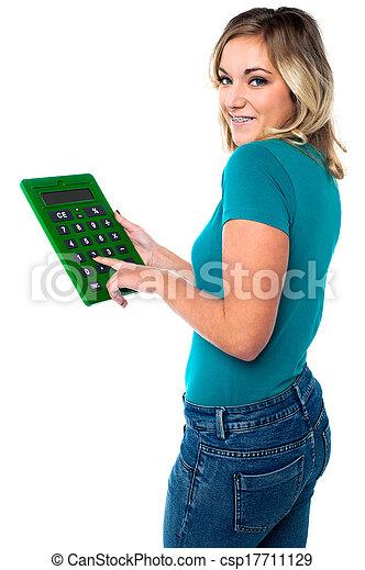 jugendlich, gebrauchend, m�dchen, taschenrechner - csp17711129