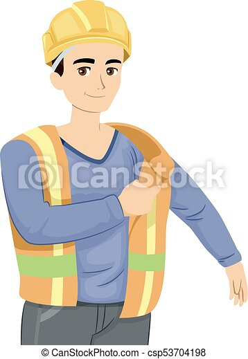 jugendlich, kerl, baugewerbe, abbildung, uniform - csp53704198
