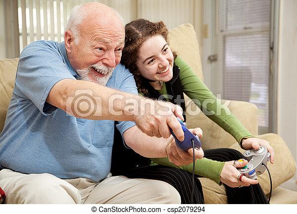 jugendlich, opa, spielen, videospiele - csp2079294