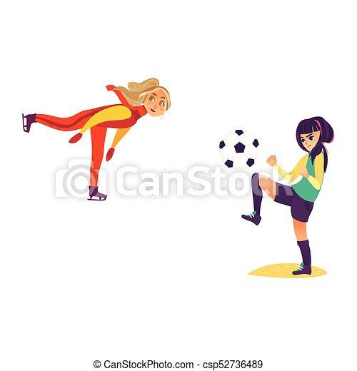 Zwei Teenager Madchen Eislaufen Football Spielen Zwei