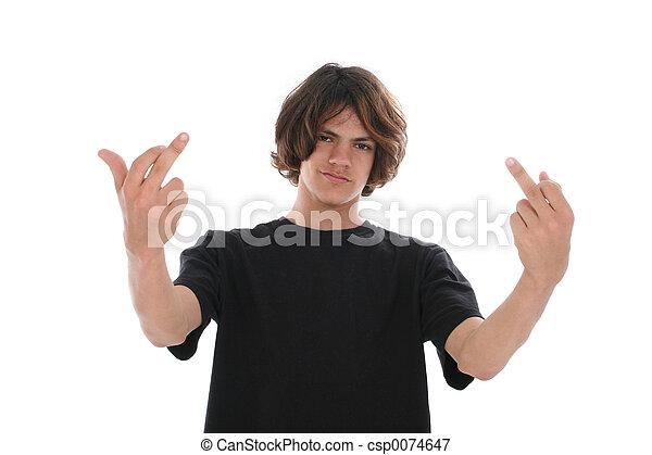 jugendlicher junge, haltung, finger, doppelgänger - csp0074647