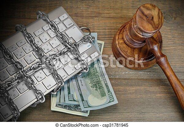juges, chaîne, concept, cyber, crime, clavier, table, marteau - csp31781945