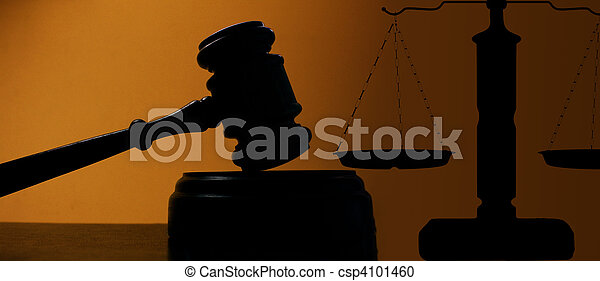 juges, tribunal, balances, justice, marteau, silhouette - csp4101460
