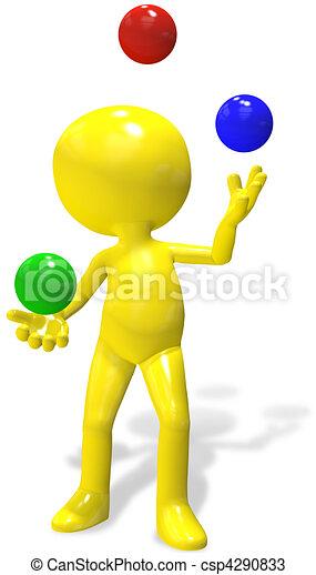 Juggler cartoon 3D person  juggles RGB balls - csp4290833