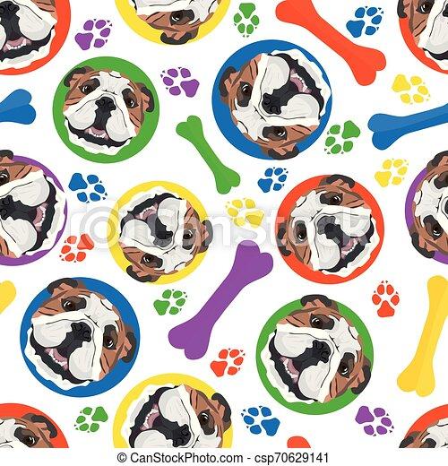 Colorido y juguetón bulldog inglés - csp70629141