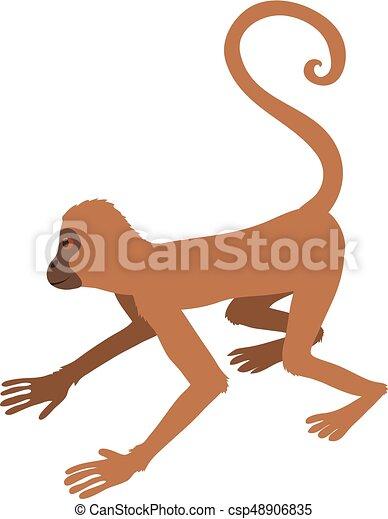 Icono de mono juguetón, estilo de dibujos animados - csp48906835