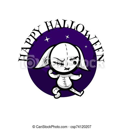 juguete, halloween, lindo, costura, conejo, woodoo, mal - csp74120207